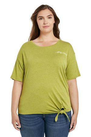 T-shirt met tekst en borduursels groen/wit