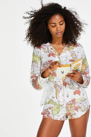 pyjamashort met all over print ecru/geel/oranje