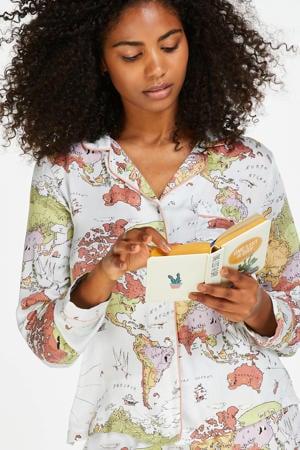 pyjamatop met all over print ecru/geel/oranje