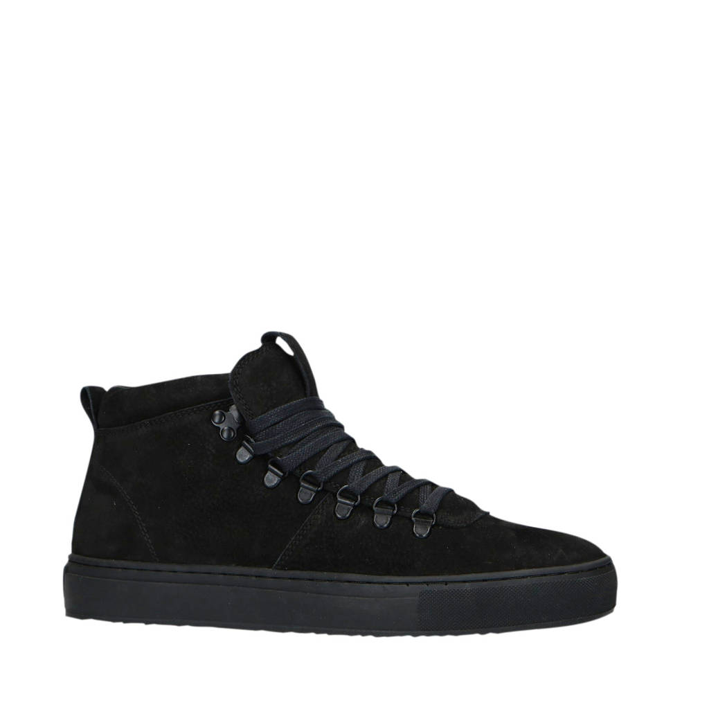 Manfield   halfhoge nubuck sneakers zwart, Zwart