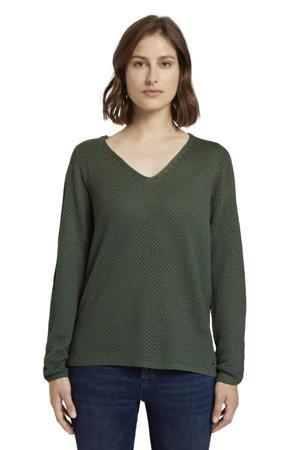 gebreide trui met open detail donkergroen