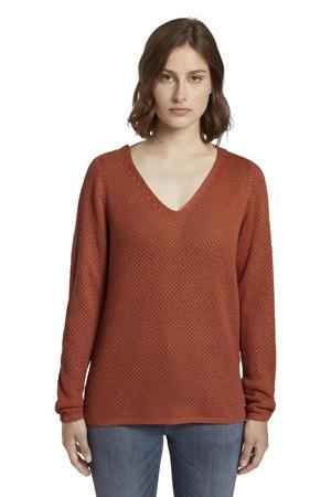 gebreide trui met open detail donkerrood
