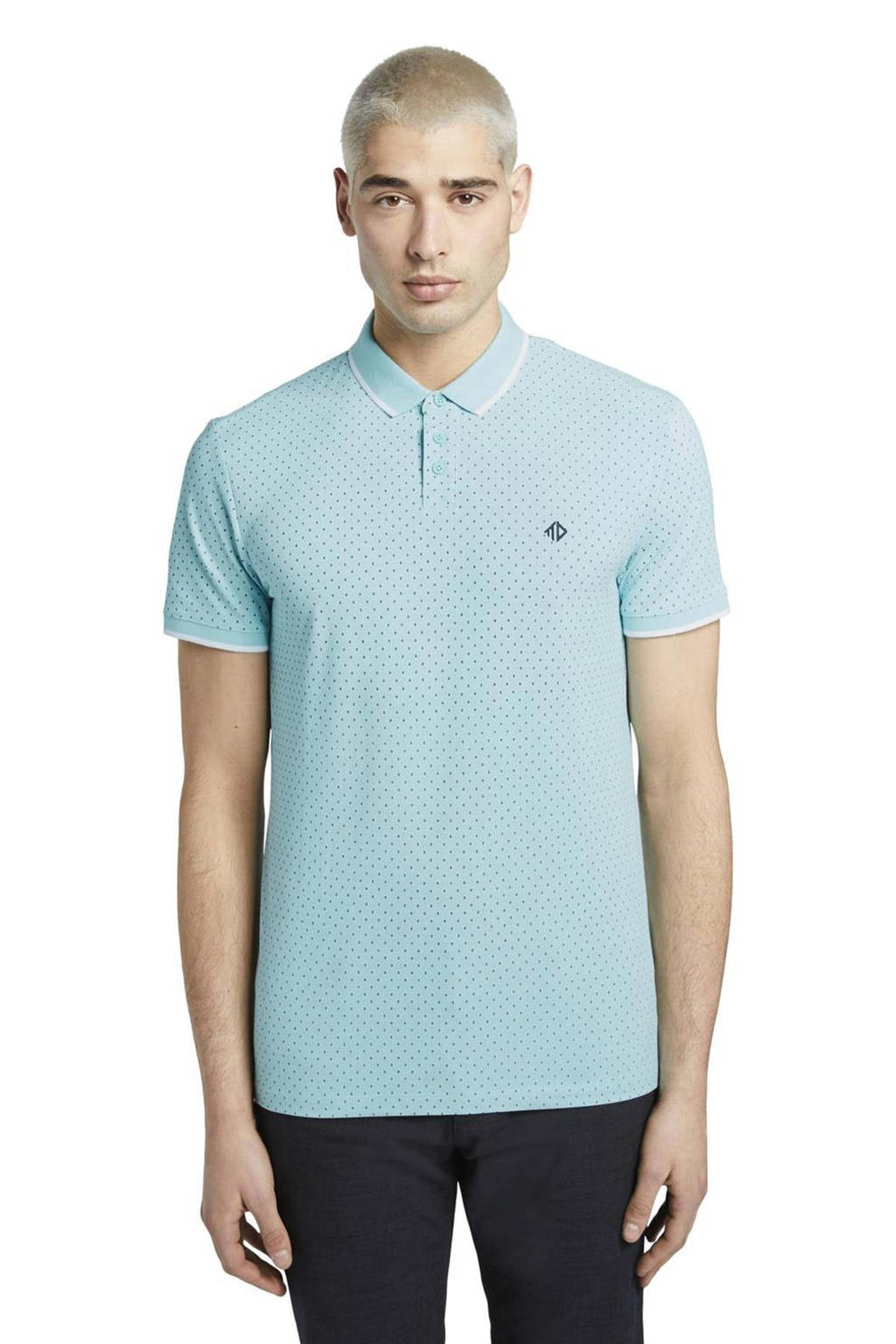 Tom Tailor Denim regular fit polo met all over print lichtblauw, Lichtblauw
