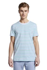 Tom Tailor Denim gestreept T-shirt turquoise/wit, Turquoise/wit