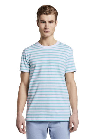 gestreept T-shirt turquoise/wit