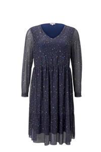 My True Me semi-transparante jurk met plooien donkerblauw/multi, Donkerblauw/multi