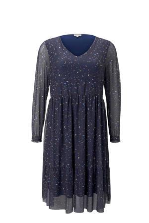 semi-transparante jurk met plooien donkerblauw/multi