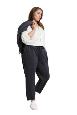 gemêleerde loose fit broek donkerblauw