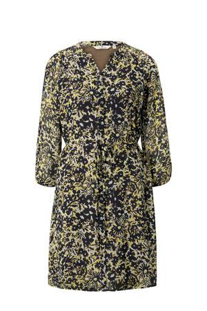 semi-transparante jurk met all over print en plooien geel/zwart/bruin