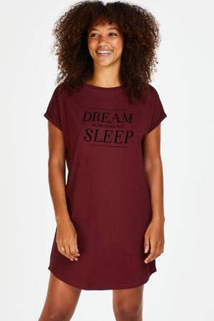 nachthemd met printopdruk bordeaux