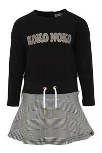 Koko Noko jersey jurk met printopdruk zwart/wit/geel, Zwart/wit/geel
