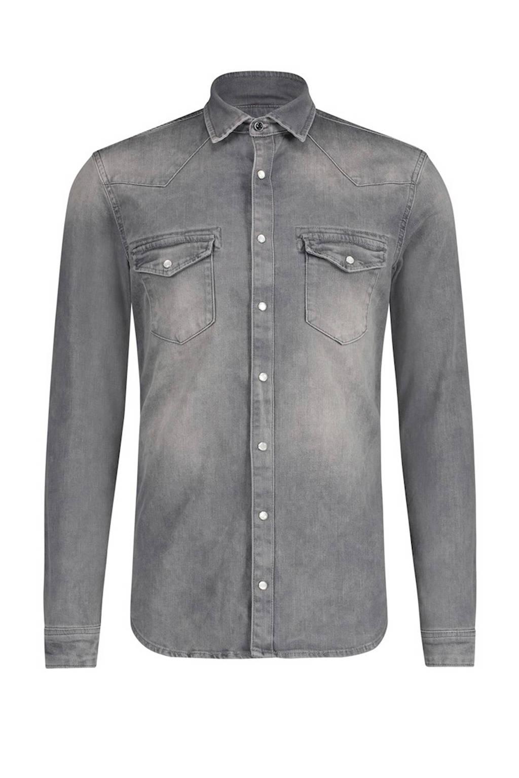 Purewhite slim fit denim overhemd grijs, Grijs