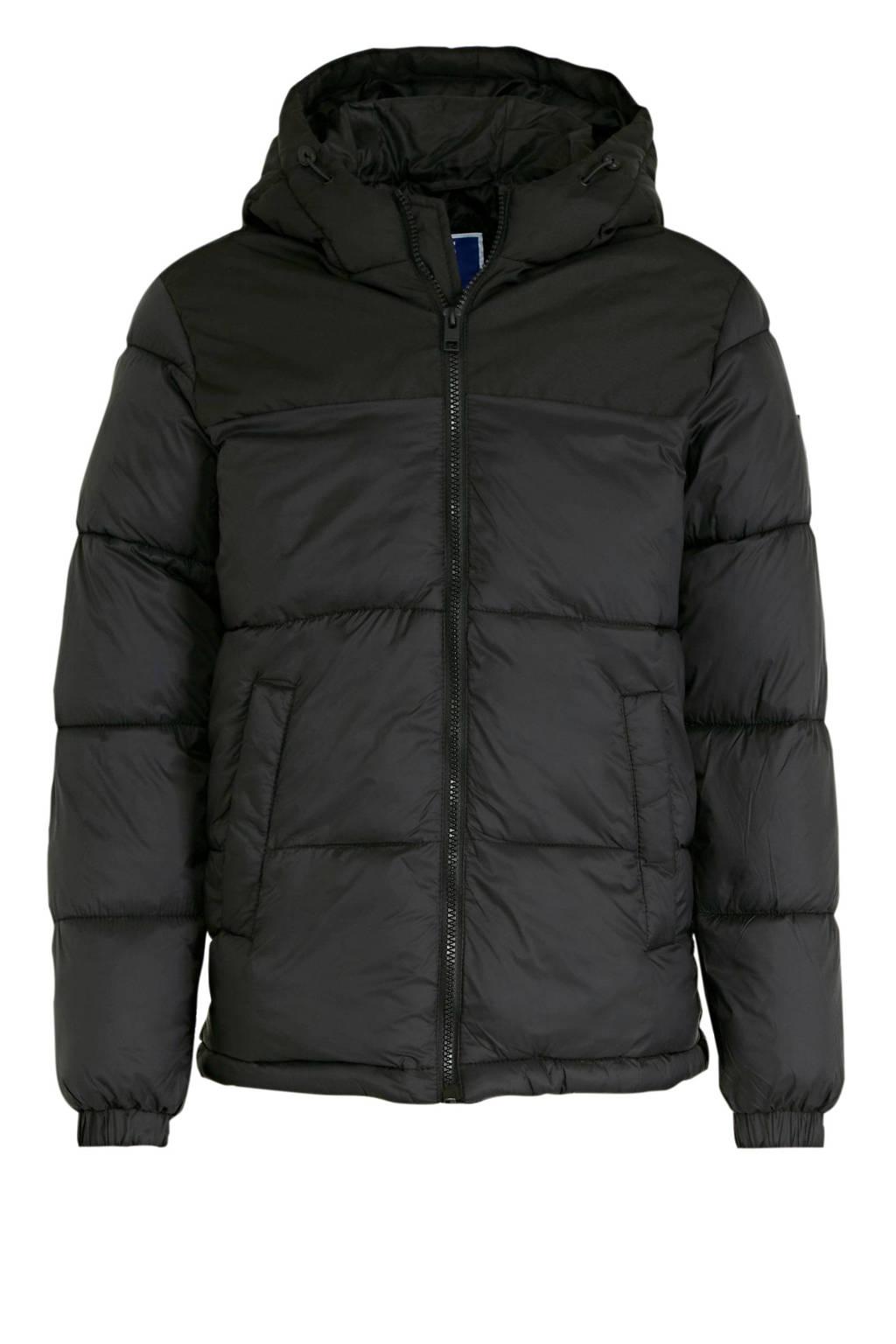 JACK & JONES JUNIOR gewatteerde winterjas Drew zwart, Zwart