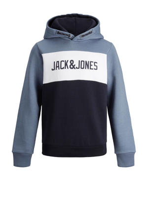 hoodie met logo blauw/donkerblauw