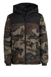 JACK & JONES JUNIOR gewatteerde winterjas Drew zwart, Army groen/zwart