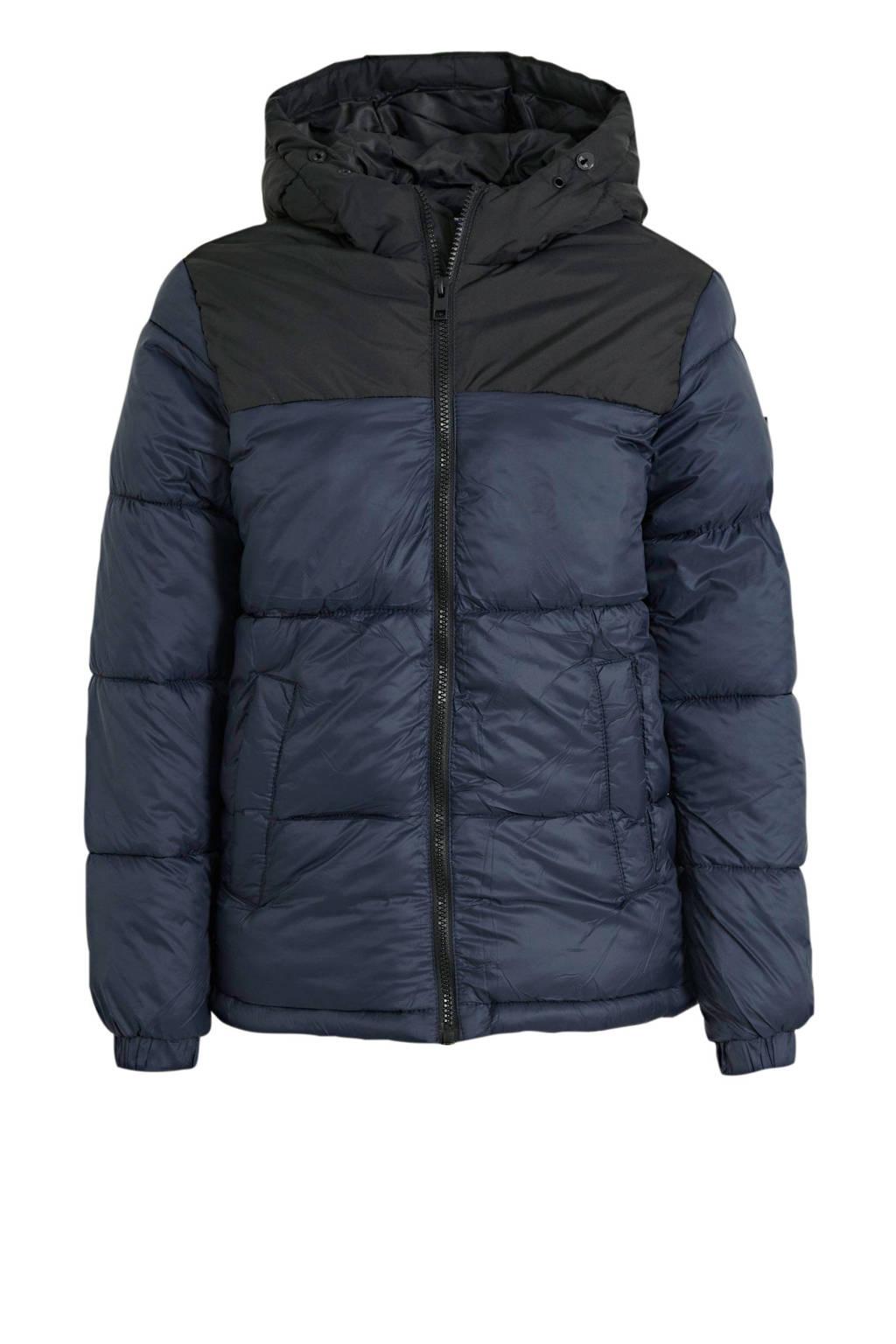 JACK & JONES JUNIOR gewatteerde winterjas Drew zwart, Donkerblauw