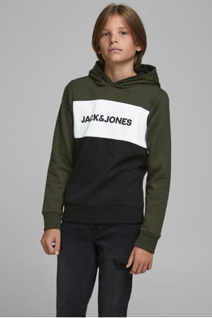 hoodie met logo donkergroen/donkerblauw