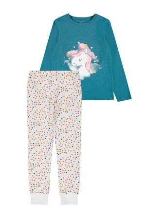 pyjama Unicorn blauwgroen/wit/roze