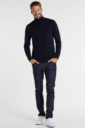 fijngebreide coltrui met wol donkerblauw