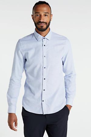 geruit slim fit overhemd lichtblauw