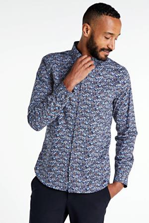 slim fit overhemd met all over print roestbruin/blauw