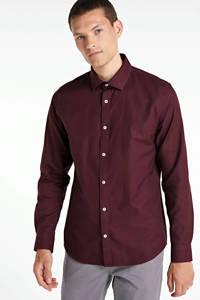Matinique slim fit overhemd donkerrood, Donkerrood