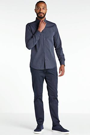 gemêleerd slim fit overhemd blauw