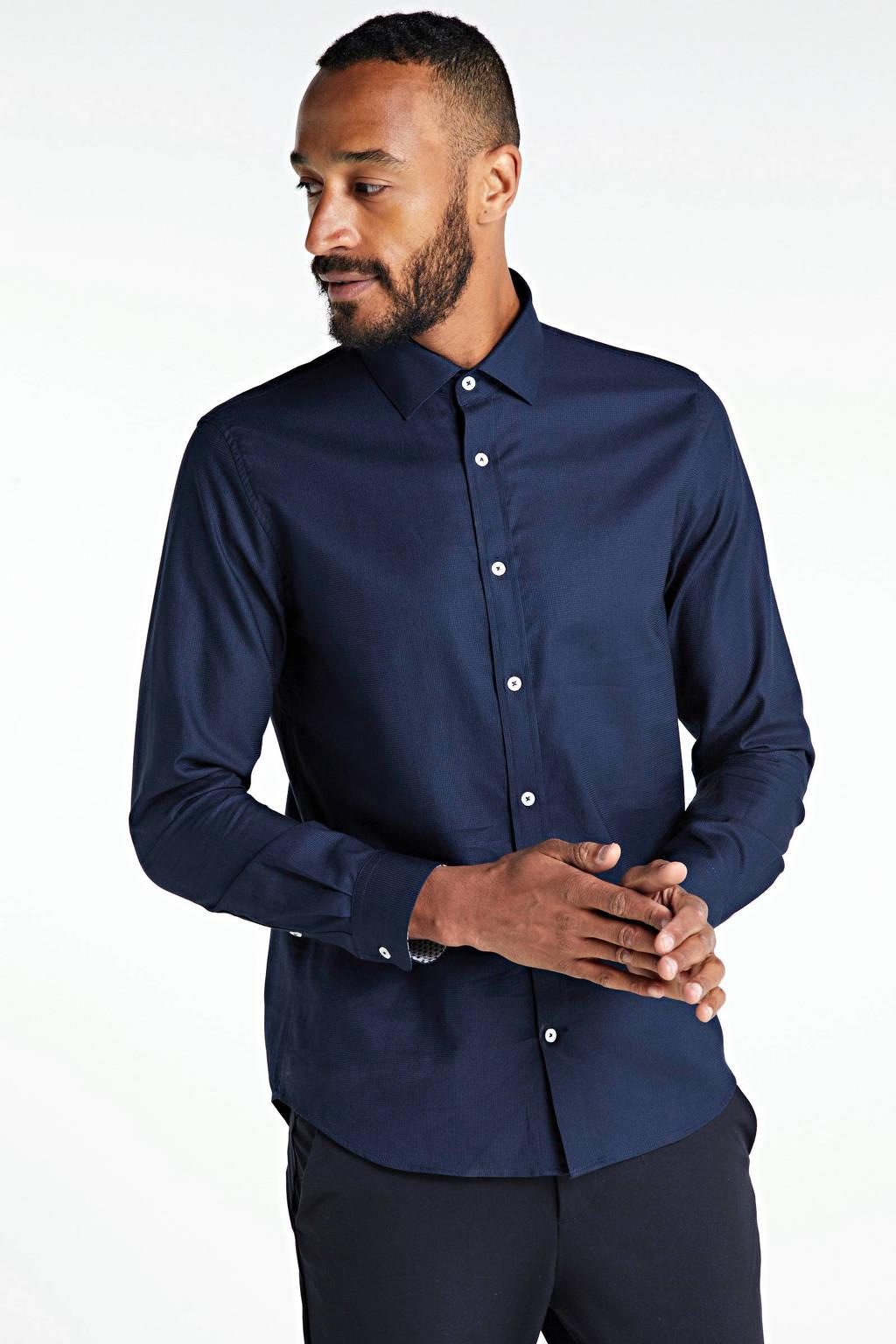 Matinique gemêleerd slim fit overhemd donkerblauw, Donkerblauw