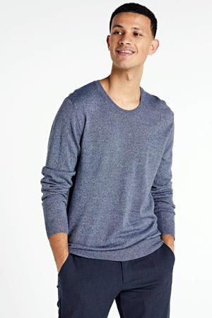 gemêleerde trui met wol grijs/blauw