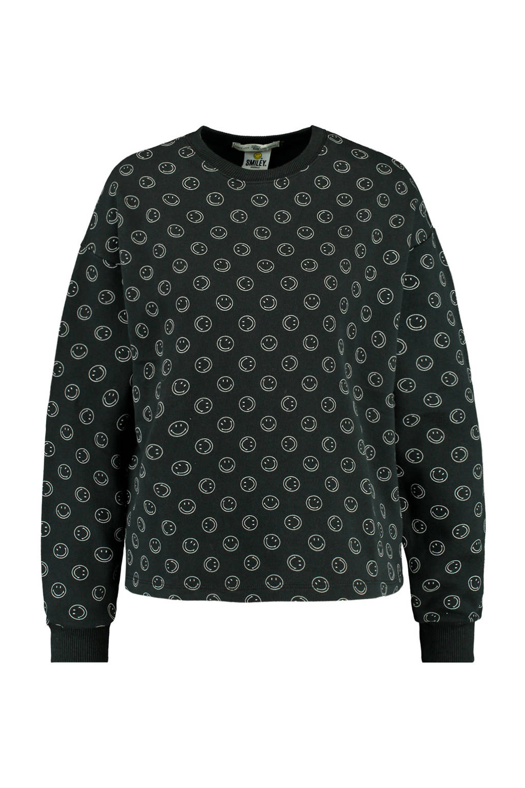 America Today sweater Smiley met all over print washed black