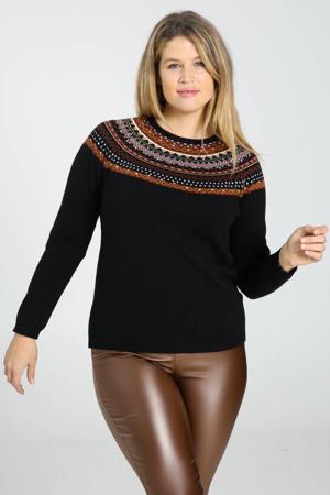 gebreide trui zwart/donkerrood/oranje