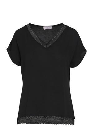 semi-transparant T-shirt met kant zwart