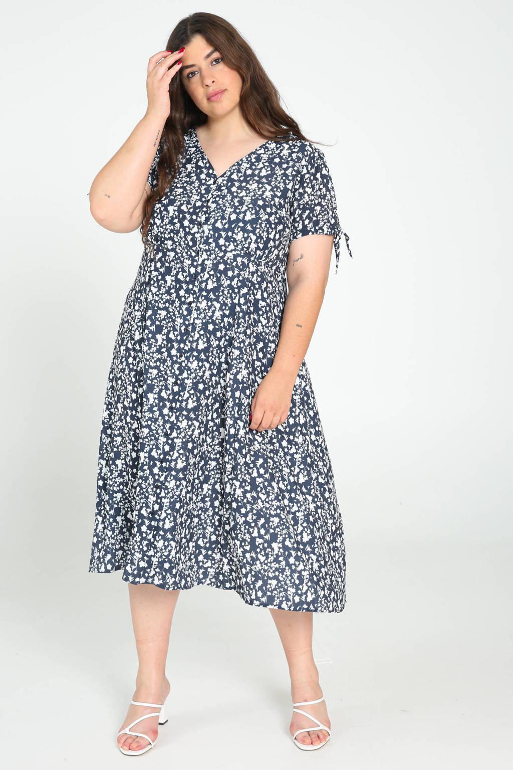 Paprika maxi jurk met all over print marine/wit, Marine/wit