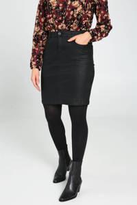 Cassis coated rok met slangenprint zwart, Zwart