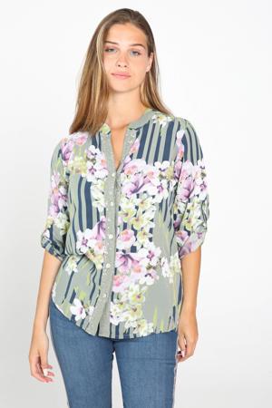 gebloemde blouse kaki/multi