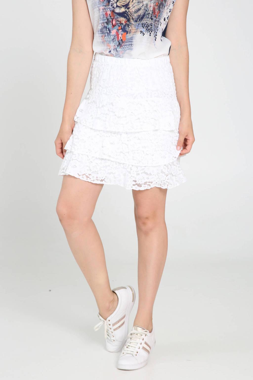 Cassis rok met kant wit, Wit
