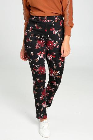 gebloemde slim fit broek zwart/rood/wit