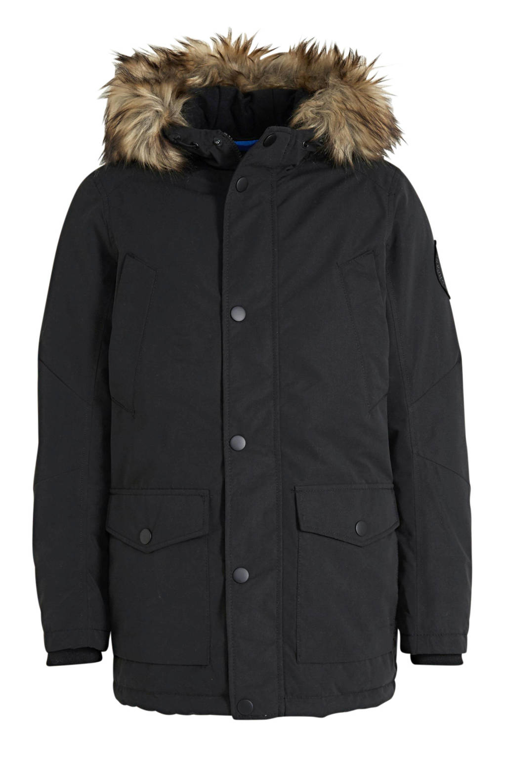 JACK & JONES JUNIOR parka winterjas Sky zwart, Zwart