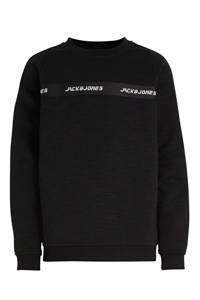 JACK & JONES JUNIOR sweater Train met tekst zwart/wit, Zwart/wit