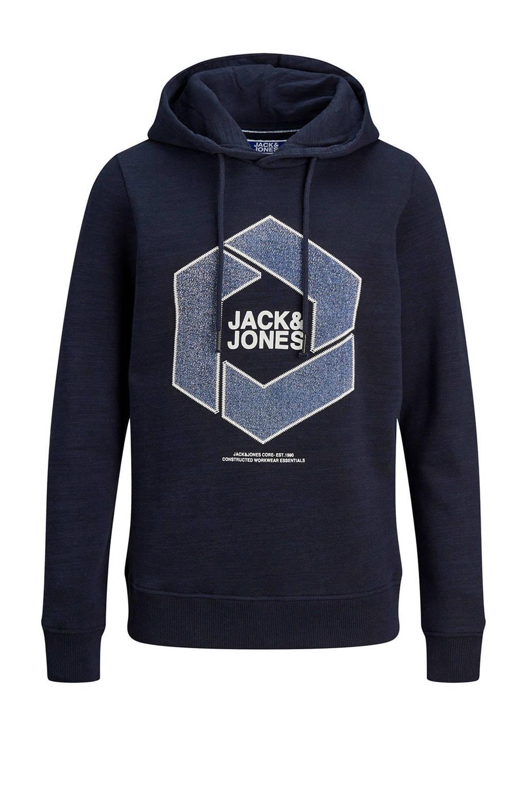 JACK & JONES JUNIOR hoodie Tube met logo donkerblauw/blauw/wit, Donkerblauw/blauw/wit