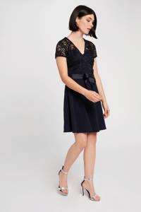 Morgan semi-transparante jurk met kant marine, Marine