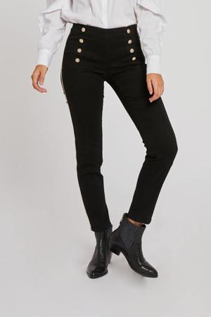 cropped high waist slim fit broek met zijstreep zwart