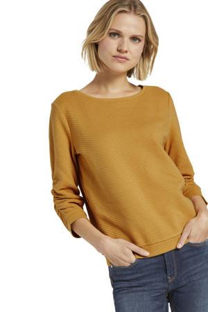sweater met textuur okergeel