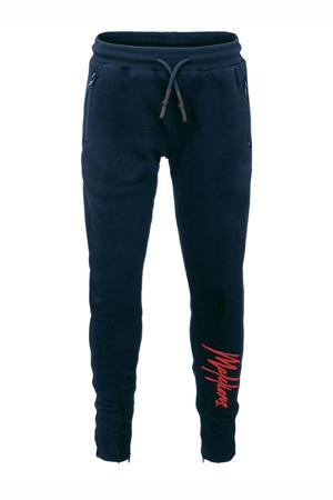 slim fit broek Signature met logo donkerblauw