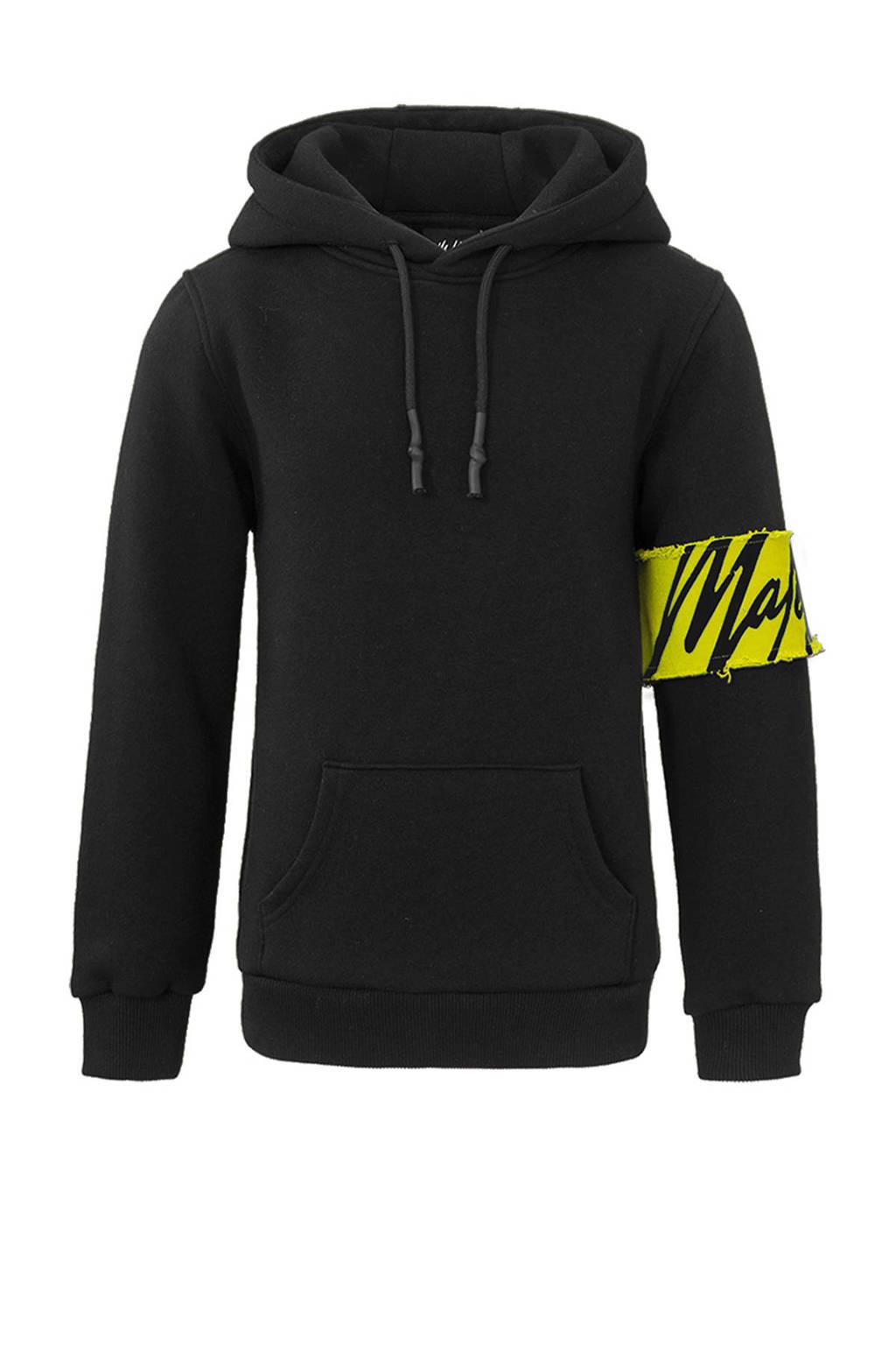 Malelions hoodie Captain met logo zwart/geel, Zwart/geel