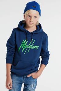 Malelions hoodie met logo blauw/neon groen