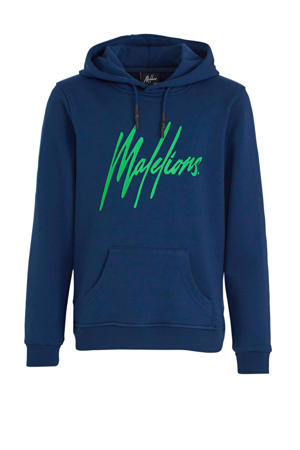 hoodie met logo blauw/neon groen