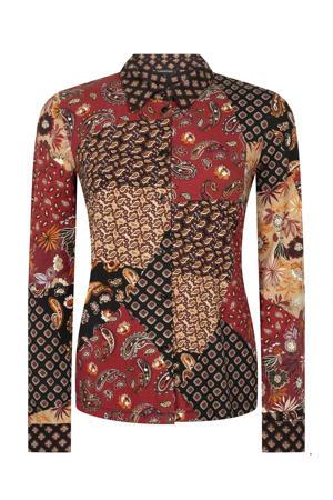 blouse met paisleyprint donkerrood/zwart/beige