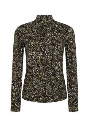 blouse met all over print zwart/multi