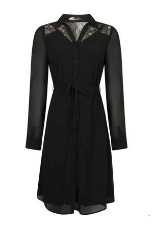 semi-transparante blousejurk met kant zwart